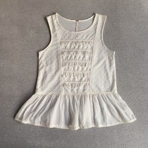 Free People Cream Ruffle Hem Sleeveless Top XS/TP